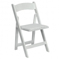 Folding Chair with Padded Seat : White